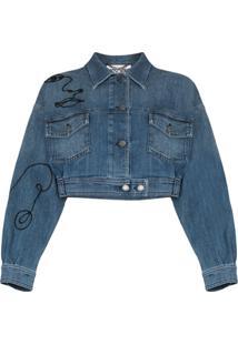 Moschino Jaqueta Jeans Com Bordado - Azul