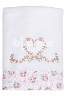 Manta Soft - Barrado E Bordado - Tiffany Floral Poa Rosa - Biramar