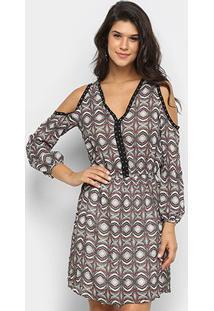 Vestido Heli Open Shoulder Estampado - Feminino-Vinho