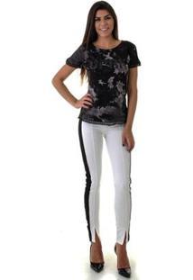 Camiseta Opera Rock Tie Dye Detalhe Mangas Feminina - Feminino-Preto