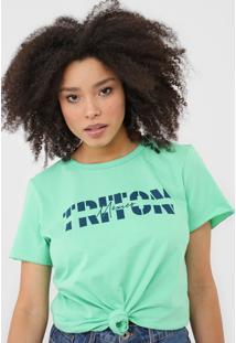Camiseta Triton Lettering Verde - Verde - Feminino - Algodã£O - Dafiti