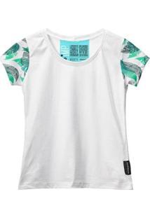 Camiseta Baby Look Feminina Algodão Manga Curta Macia Estilo - Feminino-Branco