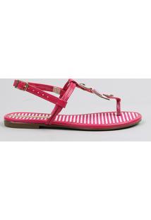 Rasteira Infantil Molekinha Em Verniz Com Flamingo E Brilho Pink