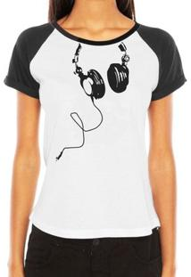 Camiseta Raglan Criativa Urbana Fones Nerd Geek Engraçadas Divertidas - Feminino