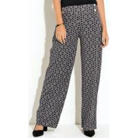 50f7acb39 Calça Pantalona Brocado Preto E Branco Quintess