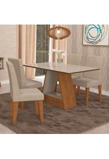 Conjunto De Mesa Para Sala De Jantar C/ Vidro Temperado E 4 Cadeiras Alana/Milena - Cimol - Savana / Off White / Sued Bege