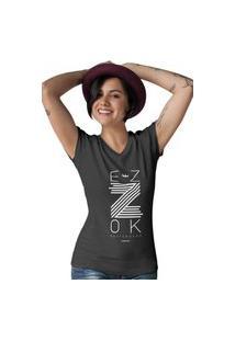 Camiseta Feminina Gola V Ezok Z Preto