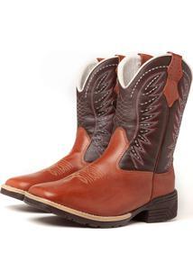 Bota Fran Boots Texana Country Cano Longo Marrom Cowboy 741