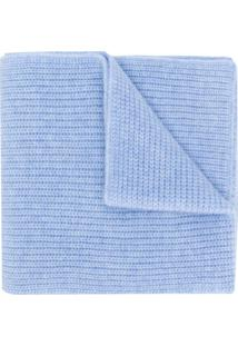 N.Peal Cachecol Canelado De Cashmere - Azul