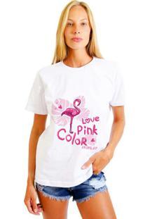 Camiseta Joss Feminina Love Pink Branco