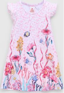 Vestido Marisol Infantil Floral Rosa