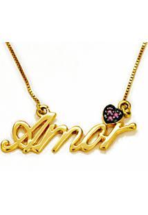 Gargantilha Amor 45 Cm, Em Ouro Amarelo - Gg9964