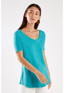 T-Shirt Malha Básica Stone Sacada Feminina - Feminino-Verde
