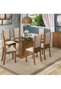 Conjunto De Mesa Com 6 Cadeiras De Jantar Modena Corino Rústico