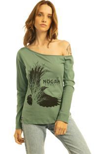 T-Shirt Nogah Birdtree Verde Ombro Caído Multicolorido