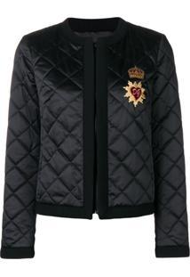 Dolce & Gabbana Jaqueta Matelassê Com Bordado - Preto