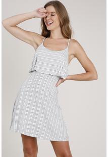 Vestido Feminino Curto Evasê Listrado Com Sobreposição Alça Fina Branco