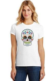 Camiseta Caveira Mexicana Feminina - Feminino-Branco