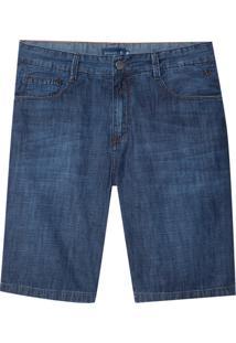 Bermuda Dudalina Jeans Washed Blue Cross Masculina (Jeans Escuro, 42)