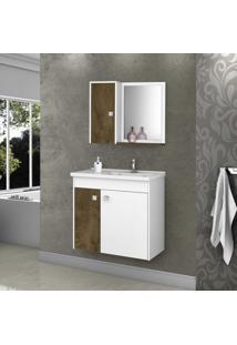 Gabinete Para Banheiro Com Cuba E Espelheira Munique Móveis Bechara Madeira Rústica/Branco