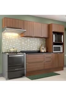 Cozinha Compacta Calábria 8 Portas Com Tampo E Rodapé Nogueira/Malt - Multimóveis
