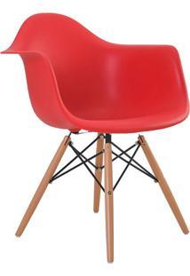 Cadeira Eiffel Com Braço Vermelha E Base Madeira