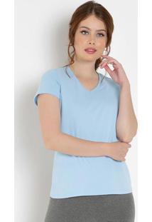 Blusa Feminina Azul Baby Look Com Decote V