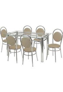 Conjunto De Mesa Com 6 Cadeiras Ana Paula Corino Bege E Cromado - Única