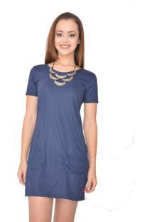 Vestido Curto Urban Lady Reto Com Bolso Azul Marinho