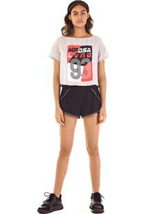 T-Shirt Morena Rosa Decote Redondo Localizada Com Silk Cinza