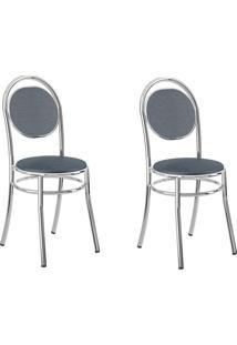 Kit 2 Cadeiras 190 Jeans/Cromado - Carraro Móveis