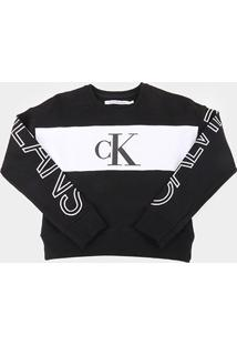 Moletom Infantil Calvin Klein Básico Logo Masculino - Feminino