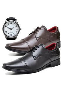 2 Pares Sapato Social Fashion Com Relógio New Dubuy 832El Preto