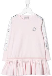 Moncler Kids Vestido Com Patch De Logo - Rosa