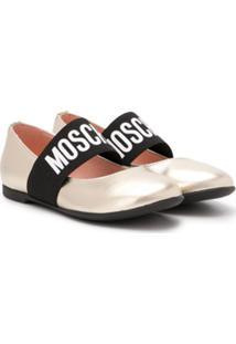 Moschino Kids Round Toe Logo Strap Ballerinas - Dourado