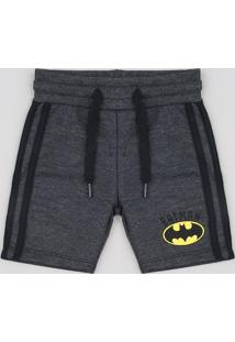 Bermuda Infantil Batman Em Moletom Com Faixa Lateral Cinza Mescla Escuro
