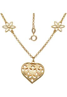 Gargantilha Prata Mil Com 4 Flores Vazada E Coraã§Ã£O Com Flor Vazado Dourado - Dourado - Feminino - Dafiti