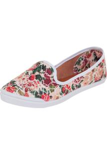 Slipper Fiveblu Flower Branco/Rosa/Bege