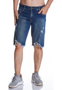 Bermuda Jeans Zait Tradicional Carlos Masculina - Masculino-Azul
