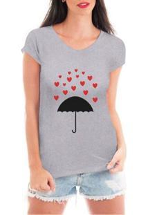 Camiseta Criativa Urbana Chuva De Corações - Feminino-Cinza