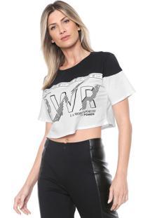 Camiseta Cropped Dimy Lettering Branca/Preta