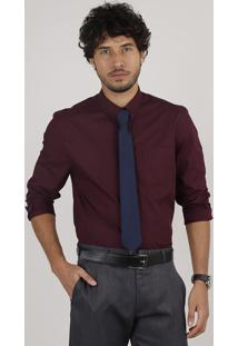Kit De Camisa Masculina Social Comfort Estampada De Poá Manga Longa + Gravata Em Jacquard Vinho