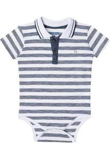 Body Bebê Luc Boo Gola Polo Listras Masculino - Masculino-Branco