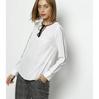 1f1698e0c9 Blusa Em Seda Com Amarração- Branca   Pretavip Reserva