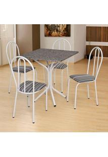 Conjunto De Mesa Com 4 Cadeiras Thais Branco, Listrado Branco E Preto