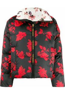 Tory Burch Jaqueta Floral Com Zíper - Preto