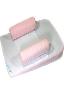 Travesseiro Anti-Refluxo Com Rolinho Baby Holder Rosa E Branco