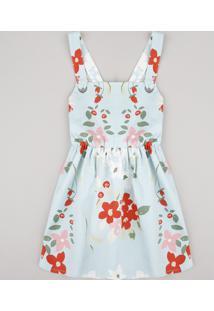 Vestido Infantil Estampado Floral Alças Com Ilhós Azul Claro