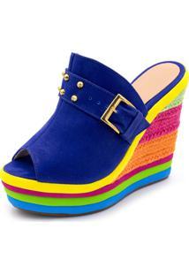 Sandália Tamanco Anabela Salto Alto Com Camurça Azul E Salto Em Sisal Colorido