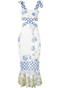 Alice Mccall Flower Girl Midi Strap Dress - Branco